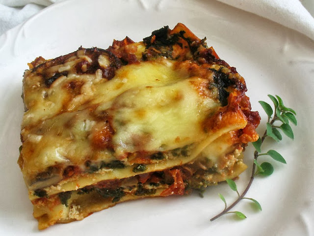 Vegetarian Mushroom and Spinach Lasagne